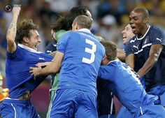 Italy's players celebrate victory against England after penalty shoot-out of their Euro 2012 quarter-final soccer match at Olympic Stadium in Kiev. DARREN STAPLES/REUTERS