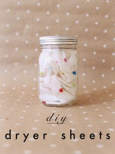 """DIY Dryer Sheets - cotton or flannel fabric cut into 6"""" squares soaked in 1 cup vinegar with 15 drops lavender. Pull one out, squeeze off the excess and toss in the dryer."""