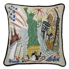 Lady Liberty Embroidered Pillow from southern|ELEVATION