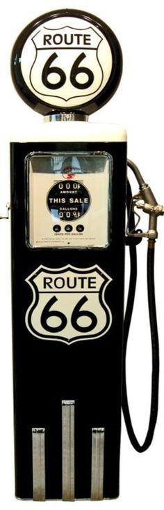 Pompe à essence 8 ball aux couleurs ROUTE 66 finition noire. Superbe qualité…