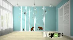 Birch Decal with Woodland Animals 5 Birch decal Bear by InkSprouts