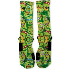 Ninja Turtles Party Customized Nike Elite Socks by FreshElites Nike Elite Socks, Nike Socks, My Socks, Cool Socks, Awesome Socks, Funny Socks, Crazy Socks, Nike Slippers, Basketball Socks