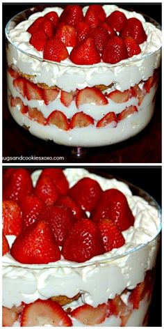 This strawberry trifle is a real crowd pleaser. You can go the easy route and use store bought cake and whipped cream….BUT I highly… 13 Desserts, Trifle Desserts, Delicious Desserts, Yummy Food, Trifle Cake, Plated Desserts, Cheesecake Trifle, Layered Desserts, Birthday Desserts