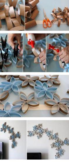 DIY Flowers Wall Art made of toilet paper tubs by Schmetterlinge