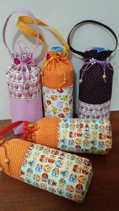 Peas and Corn Lunch Bag Small Sewing Projects, Sewing Crafts, Diy Crafts Videos, Diy Crafts To Sell, Costura Diy, Sewing To Sell, Bottle Bag, Water Bottle, Bottle Cover