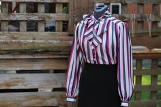 Vintage 1980's Fuchsia / Purple / Green Striped by GrantandGarbo