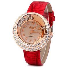 $4.70 Stylish Quartz Watch with Analog Indicate Diamonds Leather Watch Band for Women