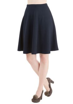 En Pointe Accompanist Skirt in Textured Navy. Flaunt grace and glamour as you tickle the ivories for tonight's show in this navy-blue skirt! #gold #prom #modcloth