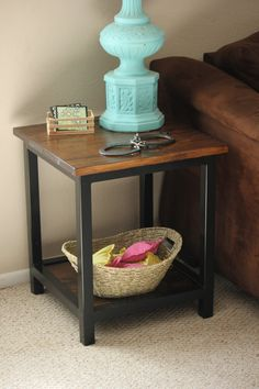 Reclaimed Wood Custom Farmhouse End Table by WannabeWelding