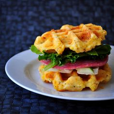 Gluten Free Cheddar and Polenta Waffle Sandwich ~ 1 cup water 1/2 cup dried polenta 6 Tbsp (3oz) unsalted butter, cut into large cubes 1 cup milk 1 cup Jeanne's GF flour mix 3/4 tsp salt 1 tsp coarse ground black pepper 1 tsp baking powder 1/2 tsp garlic powder pinch of cayenne pepper 1 egg 3/4 cup grated sharp cheddar cheese 3 Tbsp chopped chives