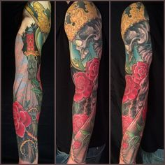 Full Sleeve Tattoo Crowned Skeleton (by Jeff Gogue) Tattoo Designs Men, Henna Designs, Jeff Gogue, Off The Map Tattoo, Watercolor Fruit, Incredible Tattoos, Oriental Tattoo, Makeup Photography, Pattern Drawing