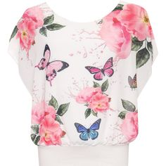 Myrtle Floral Butterfly Chiffon Top ($28) ❤ liked on Polyvore featuring tops, cerise, chiffon sleeveless top, white sleeveless top, chiffon top, white top and sleeveless tops