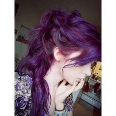 How to dye your hair purple ❤ liked on Polyvore featuring hair, purple, colored hair and purple hair