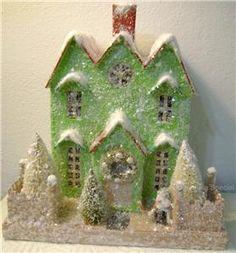 Cardboard Lighted Christmas Glitter House - Choice of Styles NEW 2011   eBay