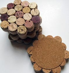 Honeycomb Wine Cork Coasters with Khaki Ribbon -Set of Four - Housewarming…