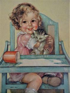 Girl With Cat Calendar Print Vintage 1930s Paper Spilt Milk Charlotte Becker Highchair Picture  $15  https://www.rubylane.com/item/676693-CL17-102/Girl-Cat-Calendar-Print-Vintage-1930s?search=1