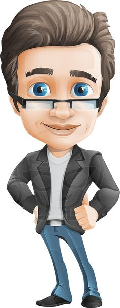 Smart businessman vector character with glasses. Comes with .ai source file and with set with 100+ poses to choose from for your specific design needs. #graphicmama