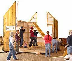 Shelter Institute in Woolwich Maine has a small house building class--build a house under 200 sq. ft. in just 5 days!  (with the help of your classmates, of course.)