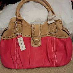 So Pretty Brand New leather purse with lots of pizzazz. Deep Fuscia and tan come together with beautiful gold and rhinestone embellishments buckles and zips closed. Very high end look. Pockets and pouches to keep organization to perfection. L and D Handbags Bags Shoulder Bags
