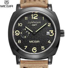 Genuine MEGIR Men's Watches Sport Watch Genuine Leather Calendar Casual Men's Quartz Military Luminous Watches Business Wristwatch Relogio