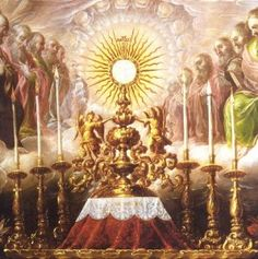 Catholic teaching: Since transubstantiation occurs, the person taking the Eucharist is truly with Jesus and is remembering him. The Eucharist is a special sacrament for Catholics and brings them closer to Jesus. Catholic Memes, Catholic Bible, Catholic Prayers, Roman Catholic, Adoration Catholic, Feast Of Corpus Christi, Spiritus, Blessed Mother, Faith