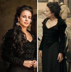 Joaquina/ Rosa (Andrea Horta) Liberde Liberdade, figurino, vestido preto com bordados