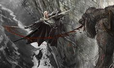 Thranduil fighting - The Hobbit official concept art by Weta Workshop