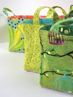 fabric boxes tutorial from Whipstitch