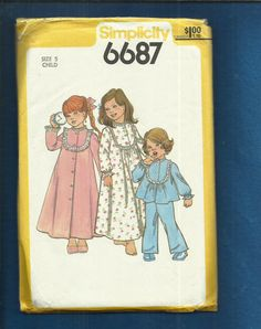 Vintage 1977 Simplicity 6687 Little Girl U Shape Yoke Robe Nightgown & Pajamas Size 5