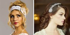 Lace headbands are a glamorous alternative to tiaras while tiaras with side detailing look elegant
