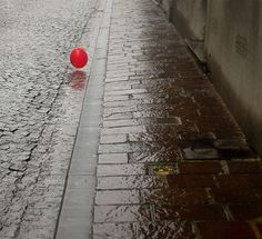 Out for a roll in the rain little red ball?