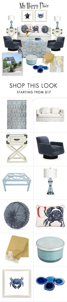 """""""By the Sea"""" by tclillis ❤ liked on Polyvore featuring interior, interiors, interior design, home, home decor, interior decorating, Polaroid, Safavieh, Mitchell Gold + Bob Williams and Oomph"""