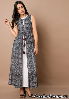 Indo Western Dresses – Buy Indo Western Wear for Women Online – Indya Black White Floral Print Maxi Jacket Indian Gowns Dresses, Women's Dresses, Dress Outfits, Fashion Dresses, Casual Dresses, Dance Dresses, Dresses Online, Western Dresses For Women, Western Outfits