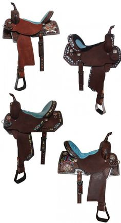 10 beautiful turquoise saddles for the barrel racer by Double J Saddlery. These saddles feature hand tooling, beautiful seats, studs and crystals. Horse Gear, Horse Tips, My Horse, Horse Love, Barrel Racing Tack, Barrel Saddle, Barrel Horse, Saddle Rack, Horse Stalls