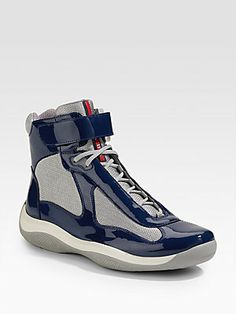 Prada High-Top Patent Sneakers