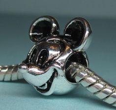 Silver Mickey Mouse Charm fits European Bracelets - Item C204. $6.95, via Etsy.