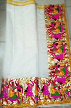 Designer Cream Saree by Mrudula Reddy    @ https://www.facebook.com/pages/Krishnas-Coutures/1614114748803719