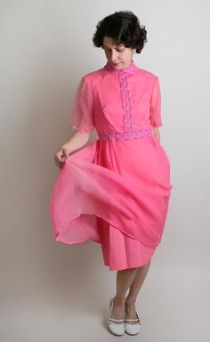 Vintage 1960s Dress Bright Magenta Flower Girl Wiggle by zwzzy, $36.00