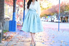 Rosette Pleated Full Skirt by KTRcollection