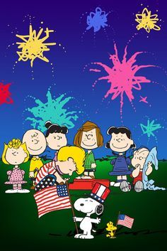 The peanuts gang in front a fireworks display