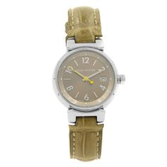 For Sale on - This pre-owned Louis Vuitton Tambour is a beautiful Ladies timepiece that is powered by a quartz movement which is cased in a stainless steel case. Louis Vuitton Watches, Pre Owned Louis Vuitton, Cartier Tank Francaise, Tambour, Watch Brands, Stainless Steel Case, Luxury Watches, Quartz, Bronze