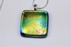 Dichroic Fused Glass Pendant Yellow and Green by Chateau694Glass