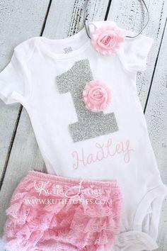 Kutie Tuties - Pink & Silver Birthday Onesie Set- #1, one, gray, Bloomer, Headband, personalized, baby girl, toddler, cake smash, 1st birthday, shirt
