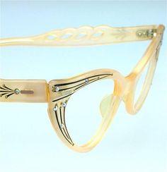France Art Deco Rhinestone Atomic Pin Up Peach Vintage Cat Eyeglass Sunglass   eBay