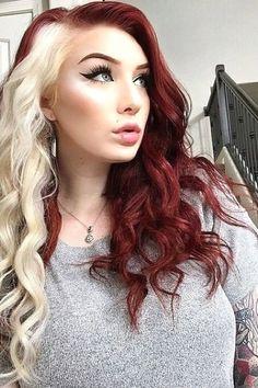 White Streak In Hair, Red Blonde Hair, Dyed Red Hair, Dyed White Hair, Long Red Hair, Hair Color Streaks, Red Hair Color, Funky Hair Colors, Red Hair Inspo
