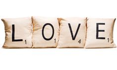 Scrabble-inspired 12x12 cotton pillows available at @Rue La La. #Tidbits #HolidayGiftGuide