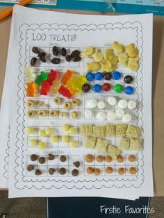 100 treats for the day of school! Check out more day of school ideas… 100 Day Of School Project, School Projects, 100 Days Of School Project Kindergartens, 100 Day Project Ideas, Holiday Activities, Math Activities, Movement Activities, Math Resources, Physical Activities