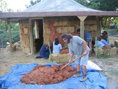 Strawbale home under construction.