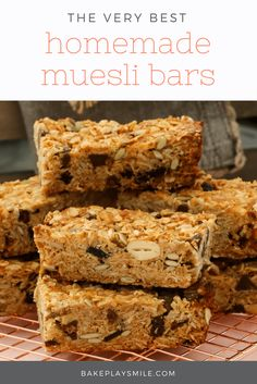 These really are the very best homemade muesli bars soft & chewy with Healthy Muesli Bar Recipe, Homemade Muesli Bars, Healthy Granola Bars, Chewy Granola Bars, Healthy Snacks, Protein Snacks, Healthy Breakfasts, Healthy Baking, High Protein