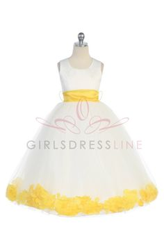 Lovely  Satin&Tulleflower girl dress with Yellow Petals and sash G2570Y $39.95 on www.GirlsDressLine.Com AH! for cousins?